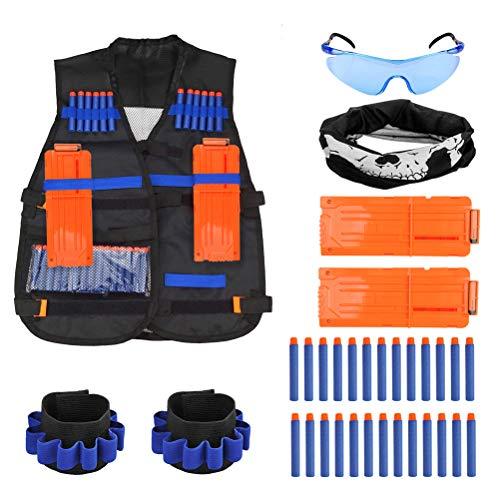 TIMESETL 37Stück Taktische Weste Jacke Set für Kinder, Nerf N-Strike Elite Set, Nerf Weste, Nerf Zubehör Set mit 30er Darts + 2er Schnellladeclips + 1 Nerf Brille + 1 Maske + 2 Armbänder
