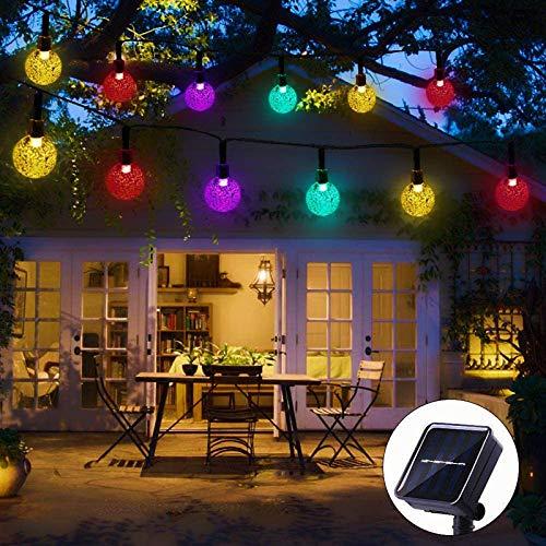 HJCC Guirnaldas Luces Exterior Solar, Cadena De Bola Cristal Luz para Exterior, 7M 50 LED, Guirnalda Luminosa Impermeable, Decoración para Navidad, Jardín, Boda, Fiesta,Multicolor