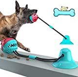 Dog Chew Toys, Dogs Training Treats Teething Rope Toys with Suction Cup for Boredom, Indoor Interactive Toy for Puppy, Dog Puzzle Treat Food Dispensing Ball Toy, Suitable for Small Large Dogs (Blue)