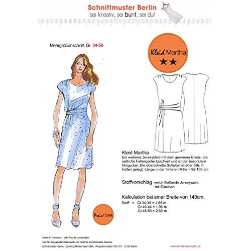 Schnittmuster Jerseykleid Martha Mehrgrößenschnitt 34-50 auf Papier
