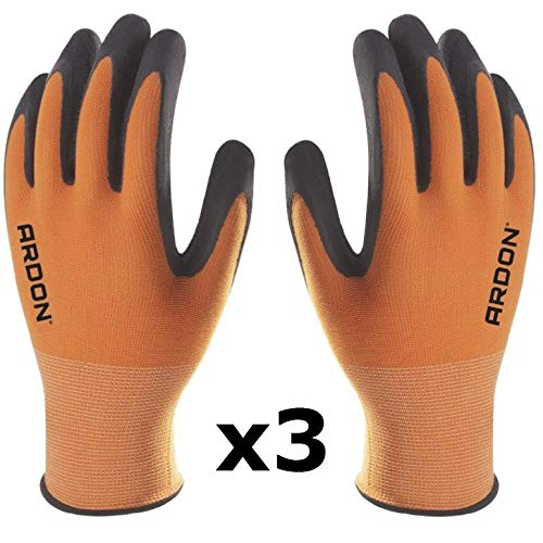 PETRA PROTECTION Guanti da lavoro, alta qualità, guanti in nylon rivestiti con schiuma di lattice resistente e flessibile. Giardino, industria, officina, trasporti (3 Paia, Arancione, taglia 9