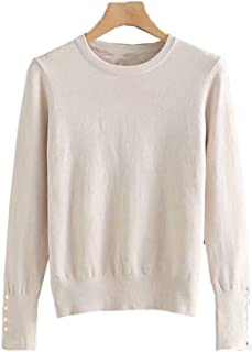 Women Winter Sweater Stretchy Solid Knitted Autumn Thin Pullover O Neck Button Jumper Sweaters Casual Tops