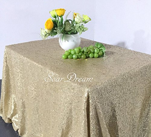 SoarDream Matte Gold Sequin Tablecloth 50x80 inch Sequin Tablecloth Glitter Table Cover Wedding Sequin Decorations