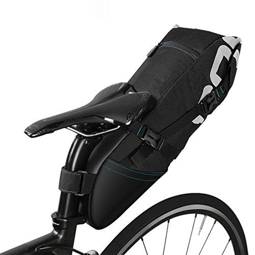 Fahrrad Satteltasche, Wasserdicht 10L Fahrrad Sattelstütze Sattel Sitz Fahrradtasche, Fahrrad Tasche Faltbar Mountain Bike Satteltasche mit aufrollbarer Öffnung – Schwarz