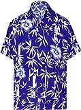 LA LEELA Casual Hawaiana Camisa para Hombre Señores Manga Corta Bolsillo Delantero Surf Palmeras Caballeros Playa Aloha 3XL-(in cms):152-162 Azul_W346