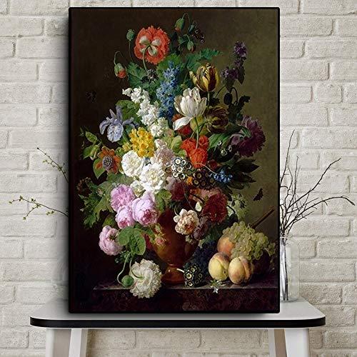 wZUN Pintura al óleo clásica Rosa Lienzo Arte decoración de la Pared Carteles e Impresiones Estilo nórdico Sala de Estar Dormitorio imágenes 60X90 Sin Marco