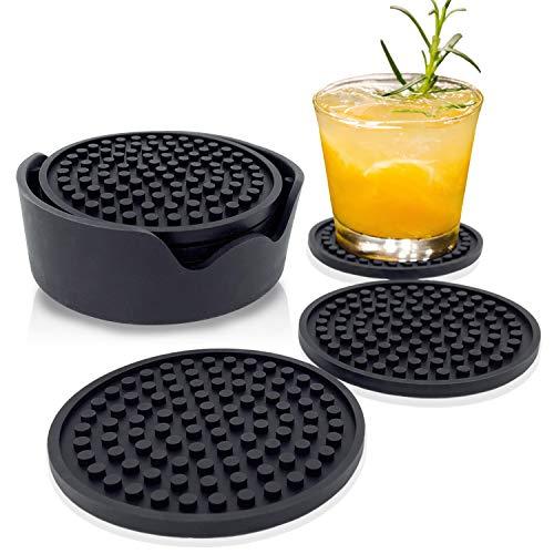 Leadfun Silikon Untersetzer, 100% Silikon, Anti-Rutsch Untersetzer, Anti-Überlauf-Design, für Getränke, Bar, Kaffee(6er Set, Schwarz)