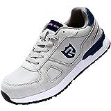 LARNMERN Zapatos de Seguridad Hombre Mujer, S1 SRC Punta de Acero Ligero Zapatillas de Seguridad Transpirable Reflectivo (43 EU, Gris)