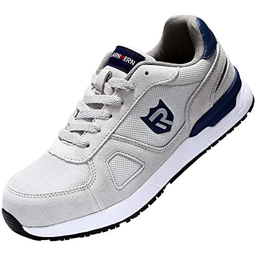 LARNMERN Stahlkappe Sicherheitsschuhe, Herren luftdurchlässige Leichte Anti-Smashing Schuhe Industrie und Handwerk (Grau,41 EU)