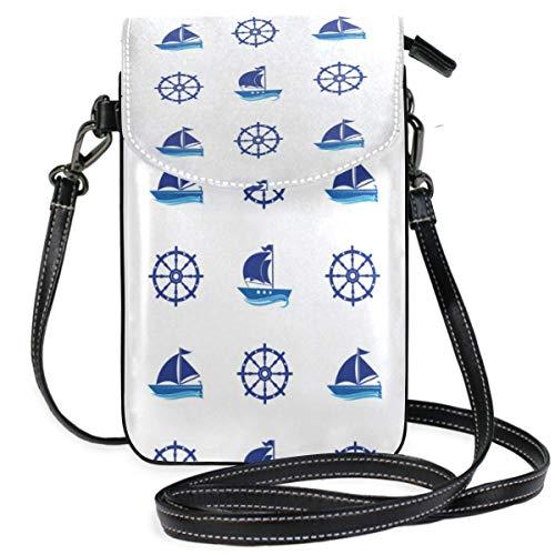Yachts An-ch-or Steering Wheel Pattern Monedero para teléfono Celular Monedero para Mujer Niña Bolsos pequeños para Monedero Cruzado