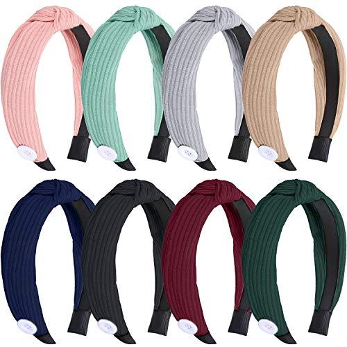 Haarbänder, 8 Stück, breit, Knoten, Turban, elastisch, gedreht, Haarband, niedliches Haar-Accessoire für Krankenschwestern, Ärzte, Frauen, Mädchen, Arbeiter, Gastgeschenke, 8 Farben