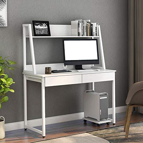 ModernLuxe Holz Schreibtisch Büromöbel Arbeitstisch mit Ablage Computer Tische Bürotisch mit 2 Schubladen für Home Office Büro Arbeitszimmer, 120 x 55 x 145 cm (Weiß)