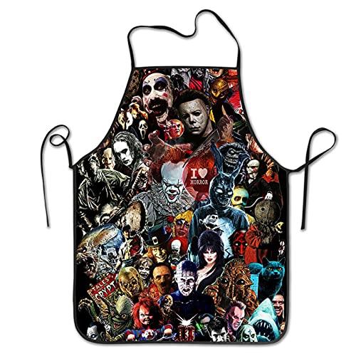 Horror Movie Apron 20.5 x 28.3 inch Black Waterproof Bib Aprons for Kitchen Cooking Baking Bbq Apron for Men Women