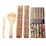 Kit de sushi, Biuzi 13Pcs/Set Kit de fabricación de sushi de bambú Family Office Party Gadget de sushi casero para amantes de la comida Marrón