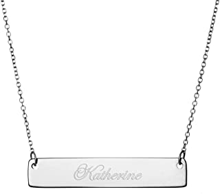 Sterling Silver Custom Engraved Name Bar Necklace, 16