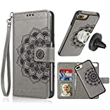 iPhone 8 Plus Case,iPhone 7 Plus Flip Embossed Leather Wallet Cases with Protective Detachable Slim Case Fit Car Mount,CASEOWL Mandala Flower Design with Card Slots, Strap for iPhone 7/8 Plus[Gray]