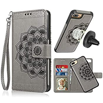 iPhone 8 Plus Case,iPhone 7 Plus Flip Embossed Leather Wallet Cases with Protective Detachable Slim Case Fit Car Mount,CASEOWL Mandala Flower Design with Card Slots Strap for iPhone 7/8 Plus[Gray]