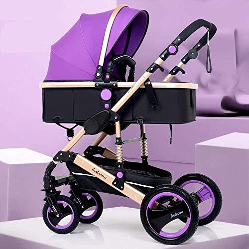 Landaus High View Poussette bébé, Poussette Buggy Compact, Portable Pram Transport Anti-Choc en Aluminium Poussette Fournitures pour bébé ( Color : Purple )