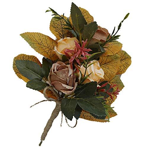 DERCLIVE Ramo de flores artificiales para sillas de respaldo de boda, decoración floral
