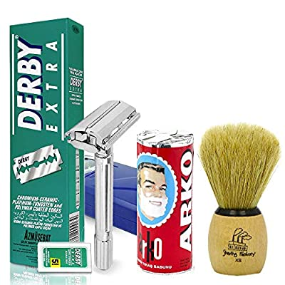 Shaving Factory Shaving Set SF289 - TSF Safety Razor, TSF Hand Made XS Shaving Brush, Arko Shaving Soap and Derby Extra Edge Razor Blades - Ideal Set as Gift for Men,Double,Green