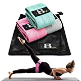Figure 8 Vegan Fabric Resistance Bands Set for Legs and Butt, Non-Slip Booty Bands for Women and Men - Set of 3: Glute Band Hip Band Leg Band with Mesh Carrying Bag