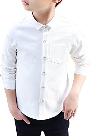 Camisa para Chicos Uniforme Escolar Manga Larga Abotonar Camisa