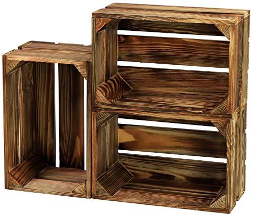 LAUBLUST 3er Set Kleine Holzkiste Vintage - 30x20x15 cm, Geflammt - Aufbewahrungskisten | Möbel-Kisten | Dekoboxen