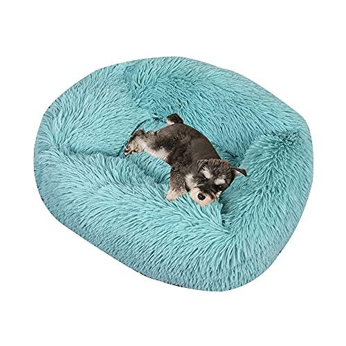 Cama cuadrada para perro calmante mullida para mascotas Cama larga de felpa suave y cálida con parte inferior antideslizante para perros y gatos que duermen