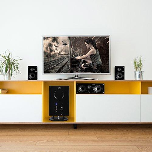 """auna Areal 525 WD Sistema Sonido Envolvente 5.1 - Home Cinema Surround , 125W RMS , Subwoofer emisión Lateral 5,25"""" , Bass Reflex , 5 Altavoces satélite , Apagado automático , Marrón"""