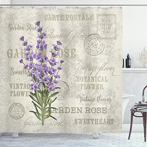 """Ambesonne Lavender Shower Curtain, Vintage Postcard Composition Grunge Display and Flowers, Cloth Fabric Bathroom Decor Set with Hooks, 70"""" Long, Reseda Green Lavender"""