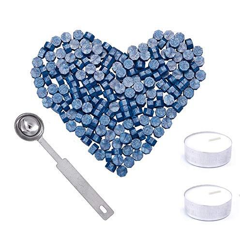 200 Pezzi Ottagono Sigillo Perline di Cera Bastoncino,ceralacca,timbro ceralacca,con 2 Pezzi Candele del tè e 1 Pezzo di Cera di Fusione Cucchiaio,per timbro ceralacca(Blue)