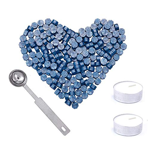 200 perlas octogonal cera,cera de estanqueidad,cera para sellos,con 2 Velas de Té + 1 Cuchara de Fundir sin Sello para sellar sellos y envolver regalos(Azul)