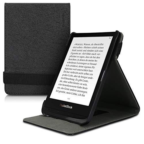 kwmobile Schutzhülle kompatibel mit Pocketbook Touch Lux 4/Lux 5/Touch HD 3/Color (2020) - Hülle e-Reader mit Schlaufe Ständer - - Schwarz