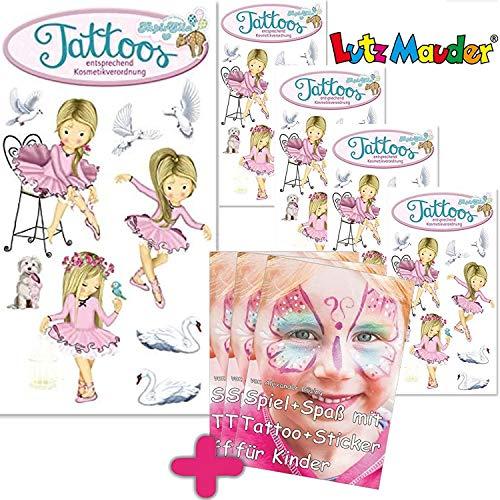 6-teiliges Tattoo-Set * Ballett * vom Mauder-Verlag   Kinder Kindertattoo Kindergeburtstag Geburtstag Mitgebsel Ballett Tänzerin Mädchen Blumen rosa Ballettschuhe