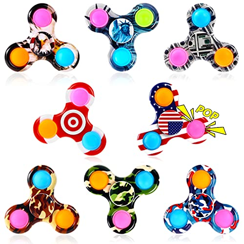 GOHEYI 8 Pack Pop Fidget Spinner,Popper Fidget Spinners Pack Toy,Push Bubble Simple Hand Spinner for...
