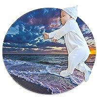 エリアラグ軽量 夕日の海の波の海岸の風景 フロアマットソフトカーペット直径31.5インチホームリビングダイニングルームベッドルーム