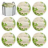 Coasters for Drinks,Ceramics Green Leaf Pattern Absorbent Coaster, Cork Base,Coasters with Holder,for Desktop Protection Cute Absorbent Coaster,Housewarming Gift for Friend and Family (Ceramic)