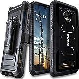 Motorola Moto Z4 / Z4 Play (2019) case, COVRWARE Aegis Series Heavy Duty Full-Body Rugged Holster Armor Cover with [Built-in Screen Protector][Belt Swivel Clip][Kickstand], Black