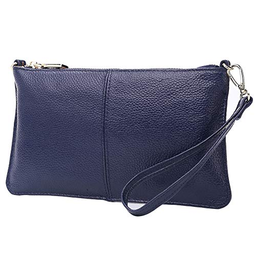 Lecxci Leather Crossbody Purses Clutch Phone Wallets with Card Slots for Women (Blue)