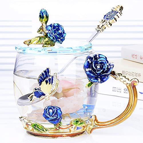 VYEKL Bunte Wassertasse Tasse Tasse mit hochtemperaturbeständigen Glas Tasse Teetasse 330ml 2 Packungen