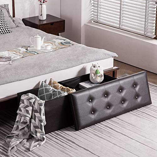 YOUDENOVA 43 Inches Folding Storage Ottoman Bench, Bed End Bench with 120L Large Storage Space, Hallway Footrest Window Padded Seat Storage Chest, Support 550lbs, Faux Leather Brown
