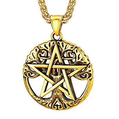 FaithHeart Wicca Pentagram Pendant Star of The Wizard Necklace Gold Plated Vintage Pentacle Witchcraft Talisman Necklace for Men Original Jewelry Customize-Gold