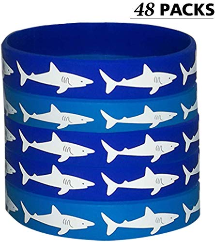 48 PCS CupaPlay Shark Party Favors Rubber Bracelets - Under the Sea/Baby Shark Birthday Party Supplies Goodie Bag Stuffers Fillers Slicone Wristbands