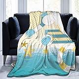 Ngxianbaimingj Manta de franela, hermosa ilustración de verano cosidas acogedoras mantas, felpa térmica portátil alfombra para cama sofá 150 x 100 cm