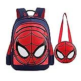 SUNBABY Boys' Backpack Spiderman Fans Gift Waterproof Comic School Bag With Lunch Kit (Spiderman-dark Blue, One Size)