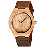 CUCOL Mens Wooden Watches Brown Cowhide Leather Strap Casual Watch For Groomsmen Father's Day Gift