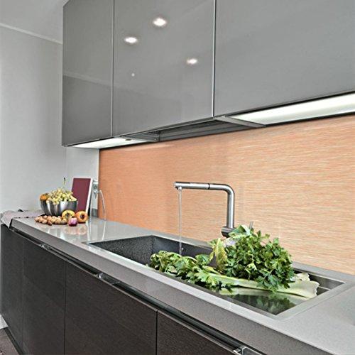 KERABAD Küchenrückwand Küchenspiegel Wandverkleidung Fliesenverkleidung Fliesenspiegel aus Aluverbund Küche Kupfer-Gebürstet 30x140cm