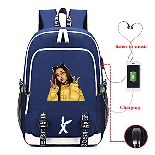 Mcvrv Ariana Grande Bolso de Estudiante con Estampado Impreso Mochila Recargable USB,Blue,15