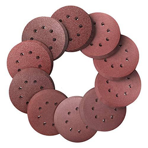 Schleifscheiben Ø125mm Klett-Schleifpapier, Körnung je 10 x 40/60/80/100/120/150/180/240/320/400, 8 Loch in rot, für Exzenter-Schleifer (100 Stück)