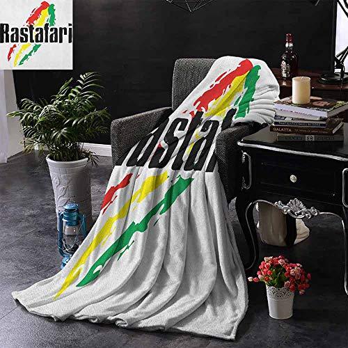 ZSUO bont gooien deken Reggae muziek maakt me voel me goed citaat Jamaicaanse eiland cultuur iconische gitaar gooien lichtgewicht Cozy pluche microvezel massief deken